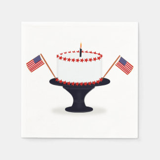 American Flag Cake Fourth of July Paper Napkins Paper Napkin