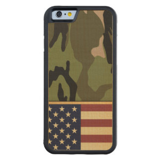 American Flag Camo Carved Maple iPhone 6 Bumper Case