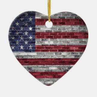 American flag. ceramic heart decoration