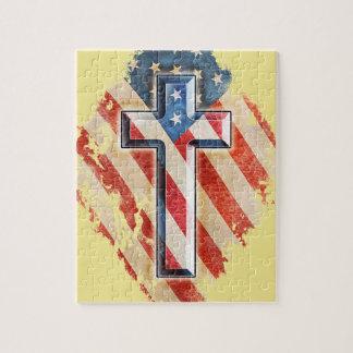 American Flag Christian Faith Cross Vintage Look Jigsaw Puzzle