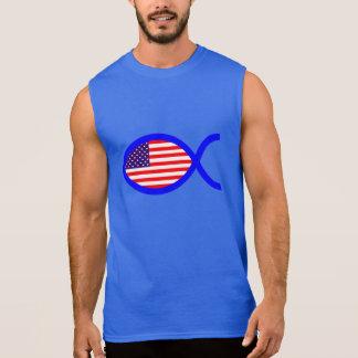 American Flag Christian Fish Symbol Sleeveless Shirt