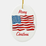 American Flag Christmas Ornament