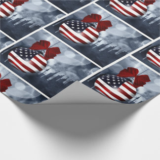 American Flag Christmas Ornament  and Skyline Wrapping Paper