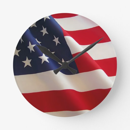 American Flag Round Wallclocks