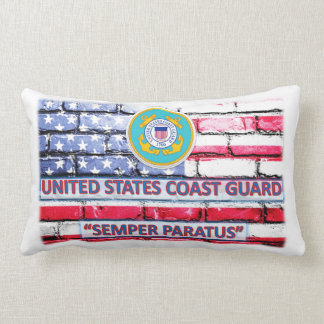 "American Flag Coast Guard Throw Pillow 13"" x 21"""