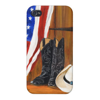 American flag, cowboy boots and cowboy hat covers for iPhone 4