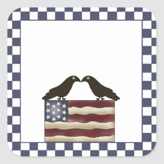 American Flag & Crows Country Themed Sticker