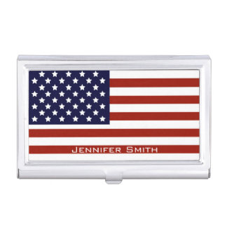 American Flag Customizable Business Card Holder
