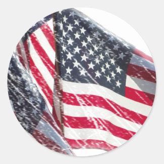 American Flag cutout Round Sticker