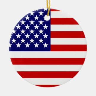 American flag round ceramic decoration