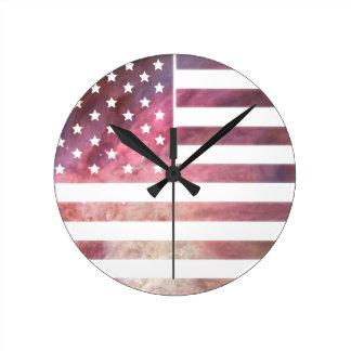 American Flag Design Round Clock