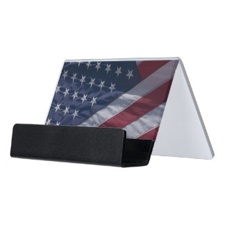 American flag desk business card holder