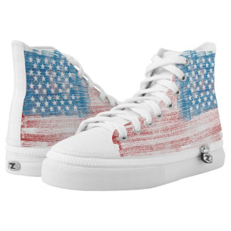 American Flag Distressed High Tops