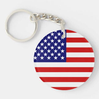 American flag Double-Sided round acrylic key ring