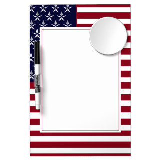 AMERICAN FLAG DRY ERASE BOARD WITH MIRROR