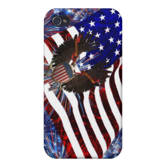 American Flag Eagle Fireworks ip3  iPhone 4 Cover