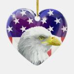 American flag eagle love heart christmas tree ornaments
