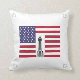 American Flag Empire State Building Pillow