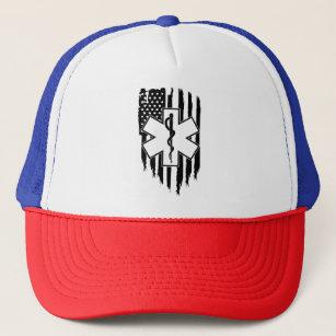 ac9c25413b0 American flag EMS Star of Life EMT Paramedic medic Trucker Hat