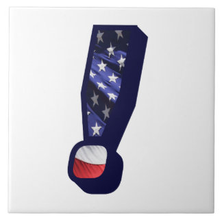 American Flag Exclamation Large Photo Ceramic Tile