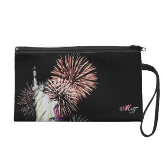 American Flag, Fireworks and Statue of Liberty Bag Wristlet Purse