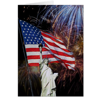 American Flag, Fireworks and Statue of Liberty Card