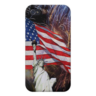 American Flag, Fireworks and Statue of Liberty iPhone 4 Cover