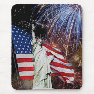 American Flag, Fireworks and Statue of Liberty Mouse Mat