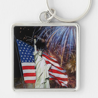 American Flag, Fireworks and Statue of Liberty Silver-Colored Square Key Ring