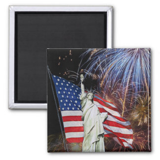 American Flag, Fireworks and Statue of Liberty Square Magnet