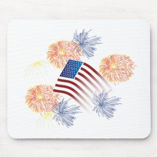American Flag Fireworks Mousepads