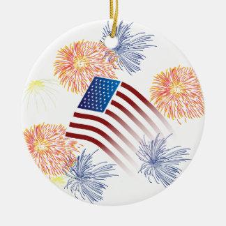 American Flag Fireworks Round Ceramic Decoration