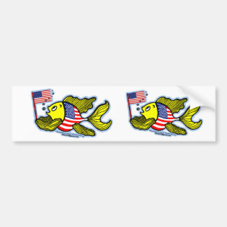 American Flag Fish Bumper Sticker