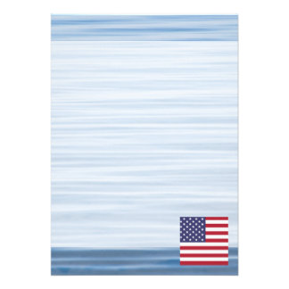 American Flag Floating on water 13 Cm X 18 Cm Invitation Card