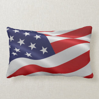 American Flag Fourth of July Red White Blue Lumbar Pillow
