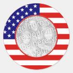 American Flag Frame Round Sticker
