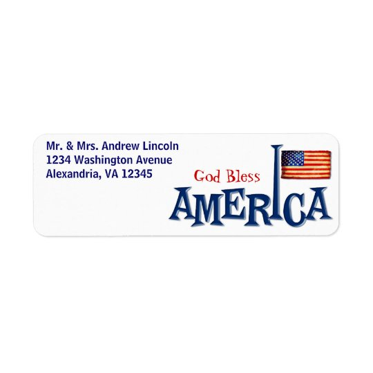 American Flag God Bless America Address Labels