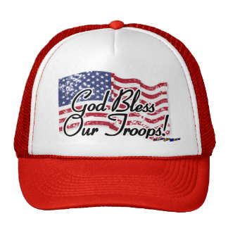 American Flag - God Bless Our Troops! - distressed Mesh Hats