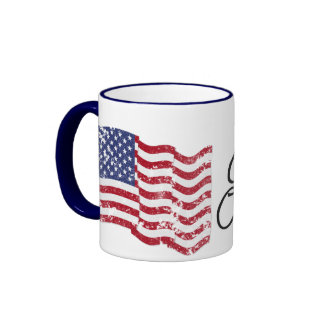 American Flag - God Bless Our Troops! - distressed Mugs