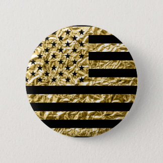 American Flag Gold Foil Effect Black 6 Cm Round Badge