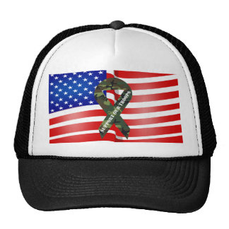 American Flag Green Camo Support Our Troops Hats