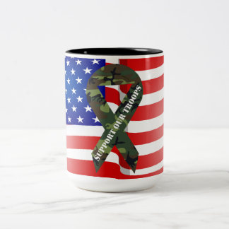 American Flag Green Camo Support Our Troops Mugs