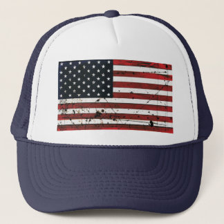 American flag grunge paint hat