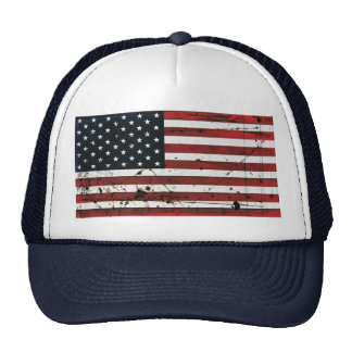 American flag grunge paint hat