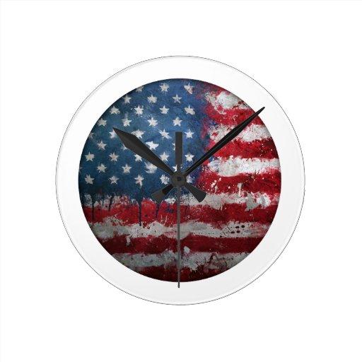 American Flag Grungy Button Wallclocks