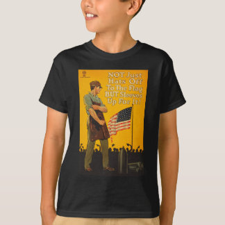 American Flag Hats Off Sleeves Up WWI Propaganda T-Shirt