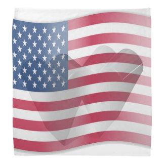American Flag Heart Bandannas