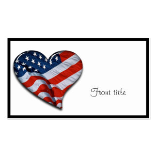 American Flag Heart Business Card Template