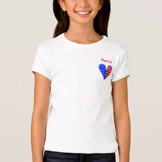 American flag heart customized flower girl shirt