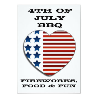 American Flag heart July 4th invitation